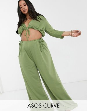 Трикотажные широкие пляжные брюки хаки от комплекта с завязками ASOS DESIGN curve-Зеленый Curve
