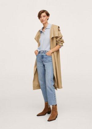 Укороченные прямые джинсы с завышенной талией - Havana Mango. Цвет: синий средний