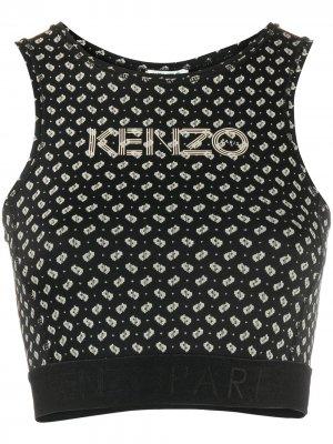 Укороченный топ с принтом Kenzo. Цвет: черный
