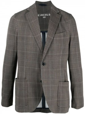 Однобортный пиджак в клетку Circolo 1901. Цвет: коричневый