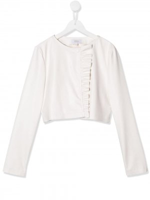 TEEN faux-leather ruffled jacket Aletta. Цвет: белый