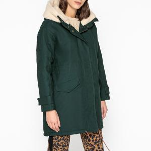 Пальто длинное с капюшоном WOOD GIRL SESSUN. Цвет: сине-зеленый