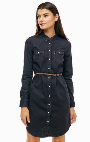 Черное платье-рубашка с ремнем Levi's®
