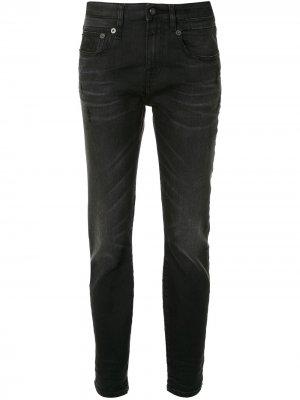 Зауженные джинсы средней посадки R13. Цвет: черный