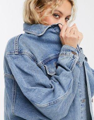 Синяя свободная джинсовая куртка Tosphop-Синий Topshop
