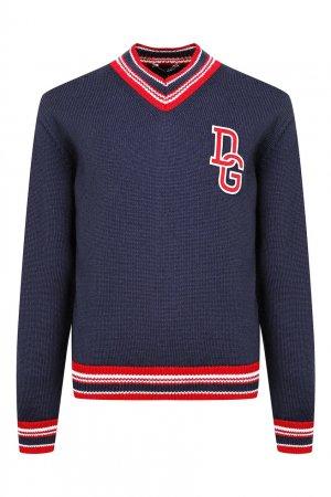 Синий вязаный пуловер с декором Dolce&Gabbana Children. Цвет: синий