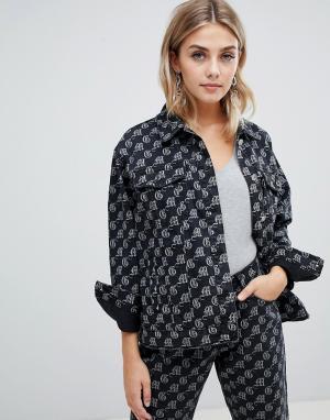 Джинсовая oversize-куртка -Черный Missguided
