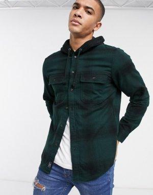 Зеленая фланелевая рубашка с капюшоном -Зеленый Abercrombie & Fitch