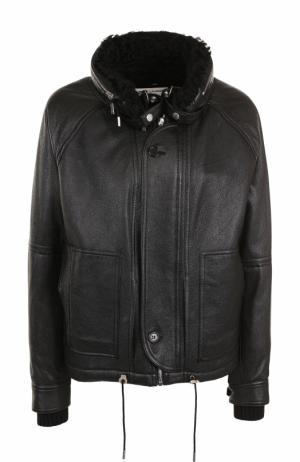Кожаная куртка прямого кроя с меховой отделкой Saint Laurent. Цвет: черный