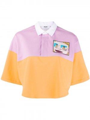 Укороченная рубашка-поло в стиле колор-блок MSGM. Цвет: оранжевый