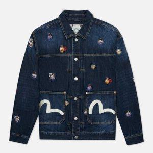 Мужская джинсовая куртка Heritage All Over Embroidered Daruma Badge Evisu. Цвет: синий