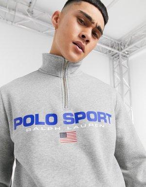 Серый меланжевый капсульный флисовый свитшот с большим логотипом спереди и короткой молнией Sport Polo Ralph Lauren