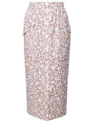 Хлопковая юбка-миди с принтом TEREKHOV. Цвет: бежевый