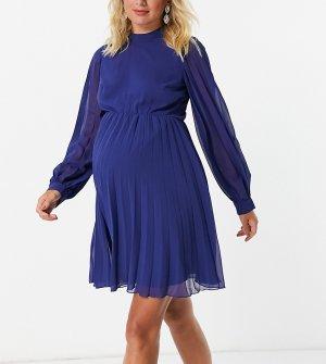 Платье мини темно-синего цвета с высоким воротом, плиссировкой, длинными рукавами и расклешенной юбкой ASOS DESIGN Maternity-Темно-синий Maternity