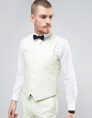 Узкий жилет из 55% льна Wedding-Зеленый цвет Gianni Feraud