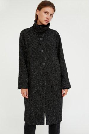 Пальто женское Finn-Flare. Цвет: темно-серый меланж