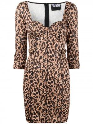 Animalier Print Mini dress Versace Jeans Couture. Цвет: коричневый