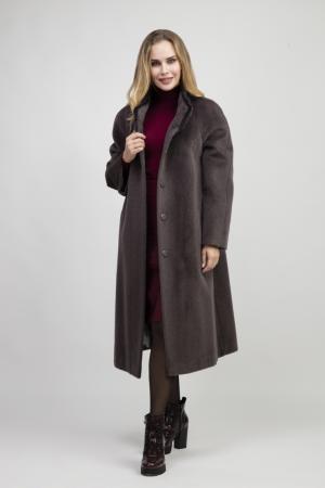 Женское длинное пальто на большой размер из альпака сури Leoni Bourget. Цвет: графит