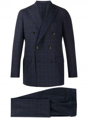 Клетчатый костюм с двубортным пиджаком Bagnoli Sartoria Napoli. Цвет: синий