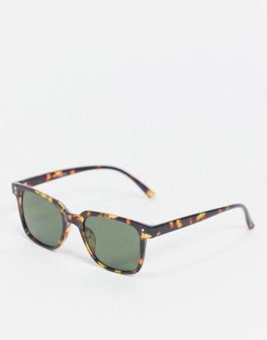 Квадратные солнцезащитные очки в черепаховой оправе с зелеными стеклами -Коричневый цвет ASOS DESIGN
