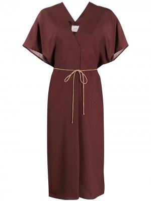 Платье миди с завязками Alysi. Цвет: коричневый
