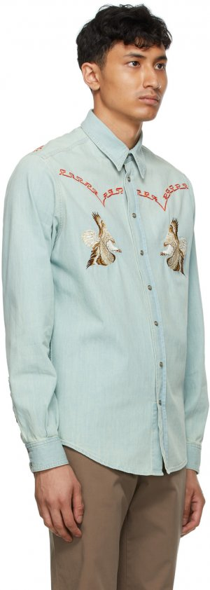 Blue Embroidered Shirt Etro. Цвет: 0200 blu