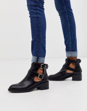 Черные байкерские ботинки с вырезами -Черный Glamorous