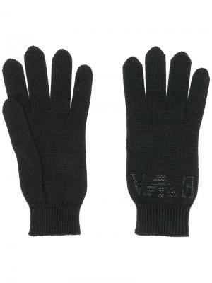 Трикотажные перчатки с логотипом из страз Emporio Armani. Цвет: черный