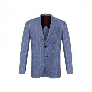 Пиджак из смеси шерсти и хлопка Luciano Barbera. Цвет: синий