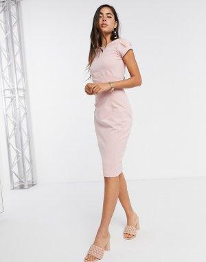 Розовое платье-футляр с короткими рукавами -Розовый Closet London