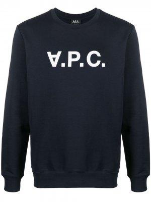 Толстовка с логотипом A.P.C.. Цвет: синий