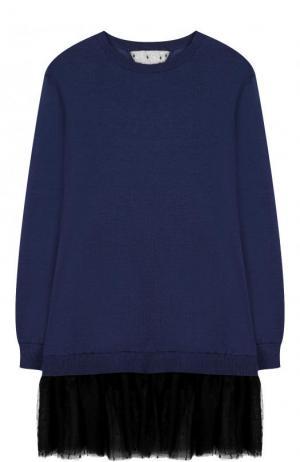 Пуловер из смеси кашемира и шелка с оборкой REDVALENTINO. Цвет: синий
