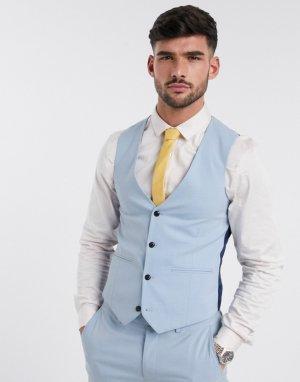 Однотонный облегающий жилет -Голубой Harry Brown