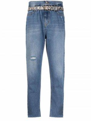 Зауженные джинсы с присборенной талией LIU JO. Цвет: синий