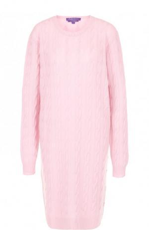 Вязаное кашемировое платье с круглым вырезом Ralph Lauren. Цвет: розовый