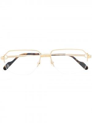 Очки в квадратной оправе Cartier Eyewear. Цвет: золотистый