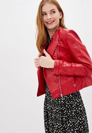 Куртка кожаная Top Secret. Цвет: красный