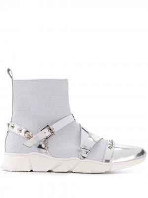 Высокие кроссовки с ремешками Cesare Paciotti Kids. Цвет: серебристый