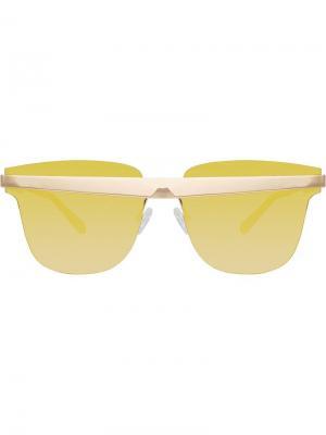 Солнцезащитные очки United Nude в D-образной оправе Linda Farrow. Цвет: золотистый