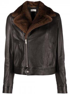 Байкерская куртка с воротником из овчины Saint Laurent. Цвет: черный