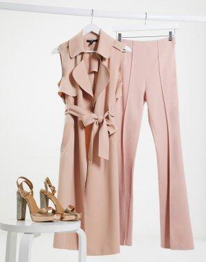 Светло-розовое пальто без рукавов с жилетом -Розовый цвет AQAQ