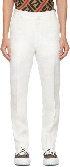 White Hemp Trousers Fendi. Цвет: f0au5 cloud