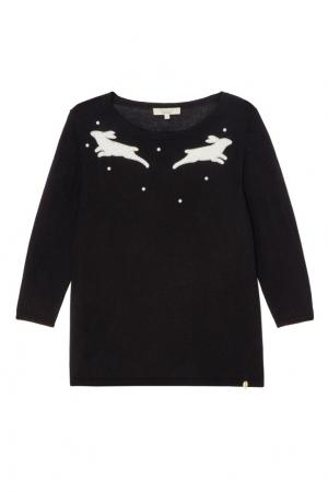 Черный пуловер с узором Akhmadullina DREAMS. Цвет: синий