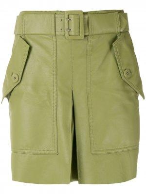 Кожаная юбка с ремнем Nk. Цвет: зеленый