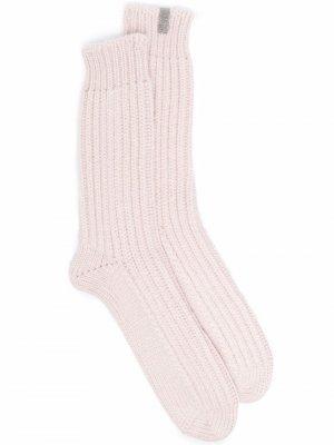 Rib-knit fitted socks Brunello Cucinelli. Цвет: розовый