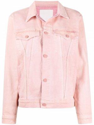 Двухцветная джинсовая куртка MOTHER. Цвет: розовый