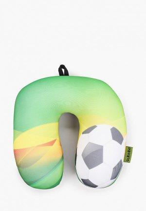 Подушка декоративная Gekoko Подголовник, Футбольный. Цвет: зеленый