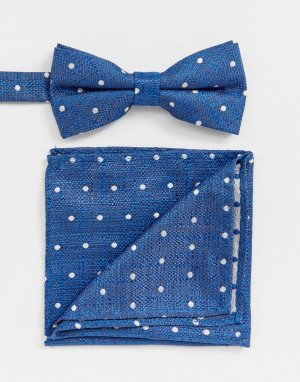 Синий галстук-бабочка и платок для пиджака в горошек Twisted Tailor