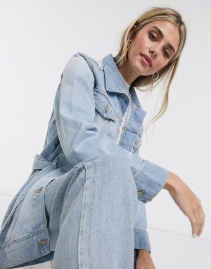 Джинсовая куртка с поясом -Синий Brave Soul