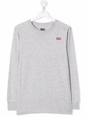 Levis Kids TEEN logo-patch long-sleeved T-shirt Levi's. Цвет: серый